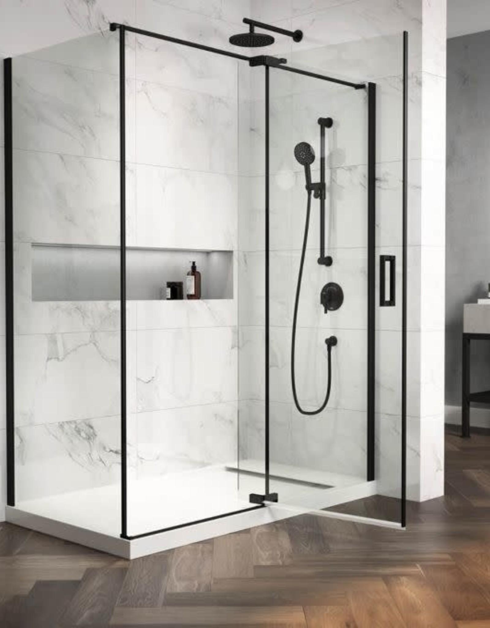 "Kalia Kalia Distink Pivot Shower Door 36"" x 36"" Corner Install- Matte Black"
