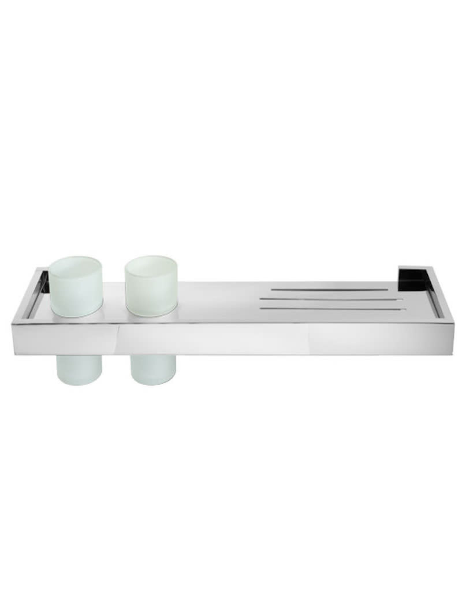 Laloo Stainless Shelf w/ Drainage and 2 Dispenser Pumps- Chrome