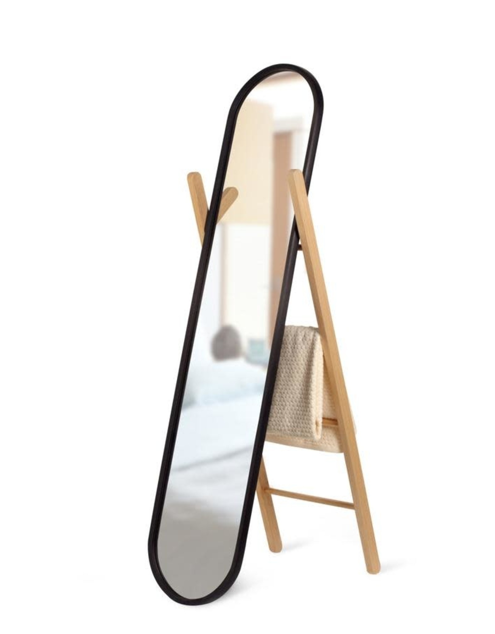 Umbra Umbra Hub Floormount Mirror Matte Black/Natural