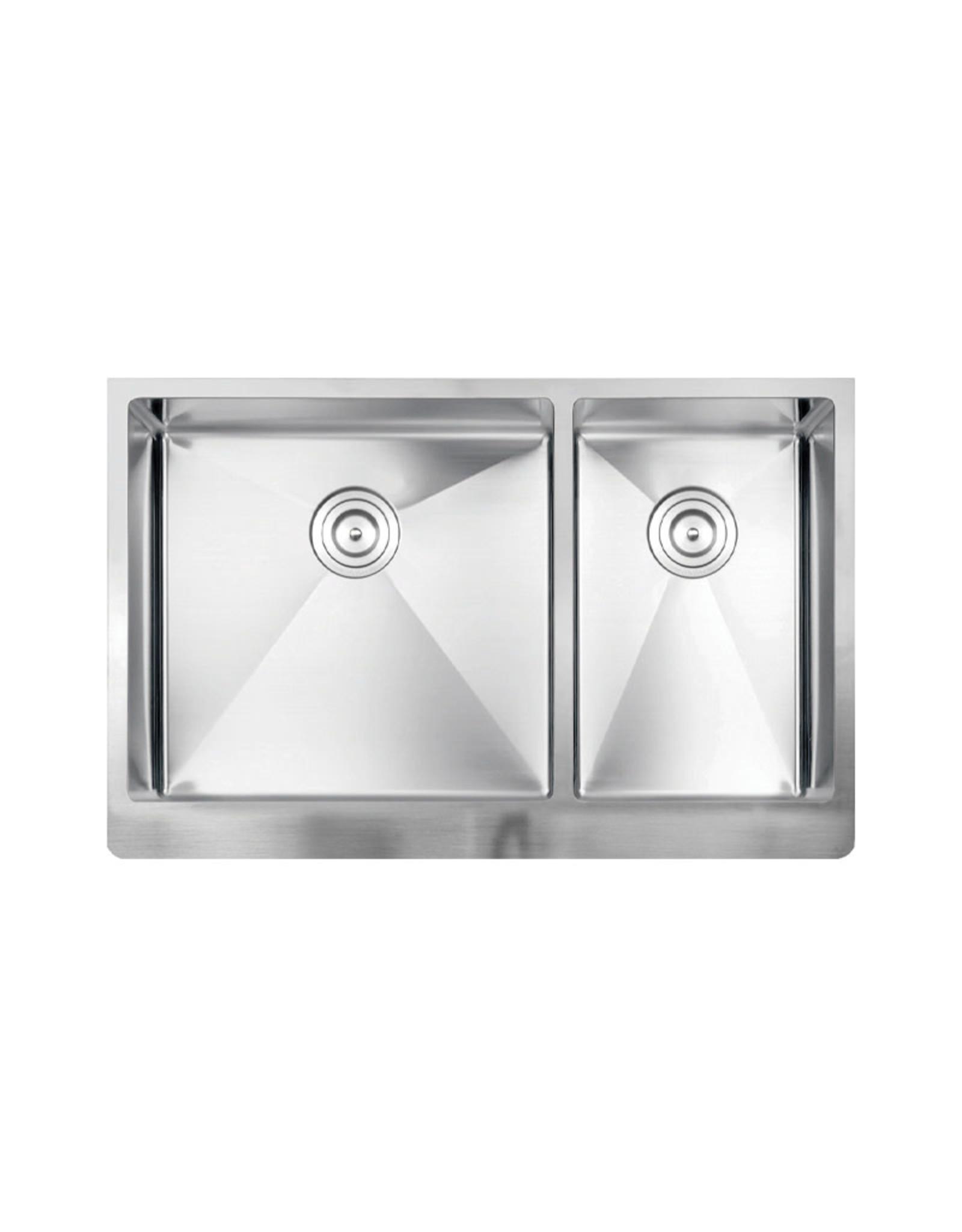 "Vogt Polten Doppelt 16R Apron Front Kitchen Sink Double Bowl (60/40) 32 ⅞"" x 20 ¾"" x 10"" With Bottom Grids"