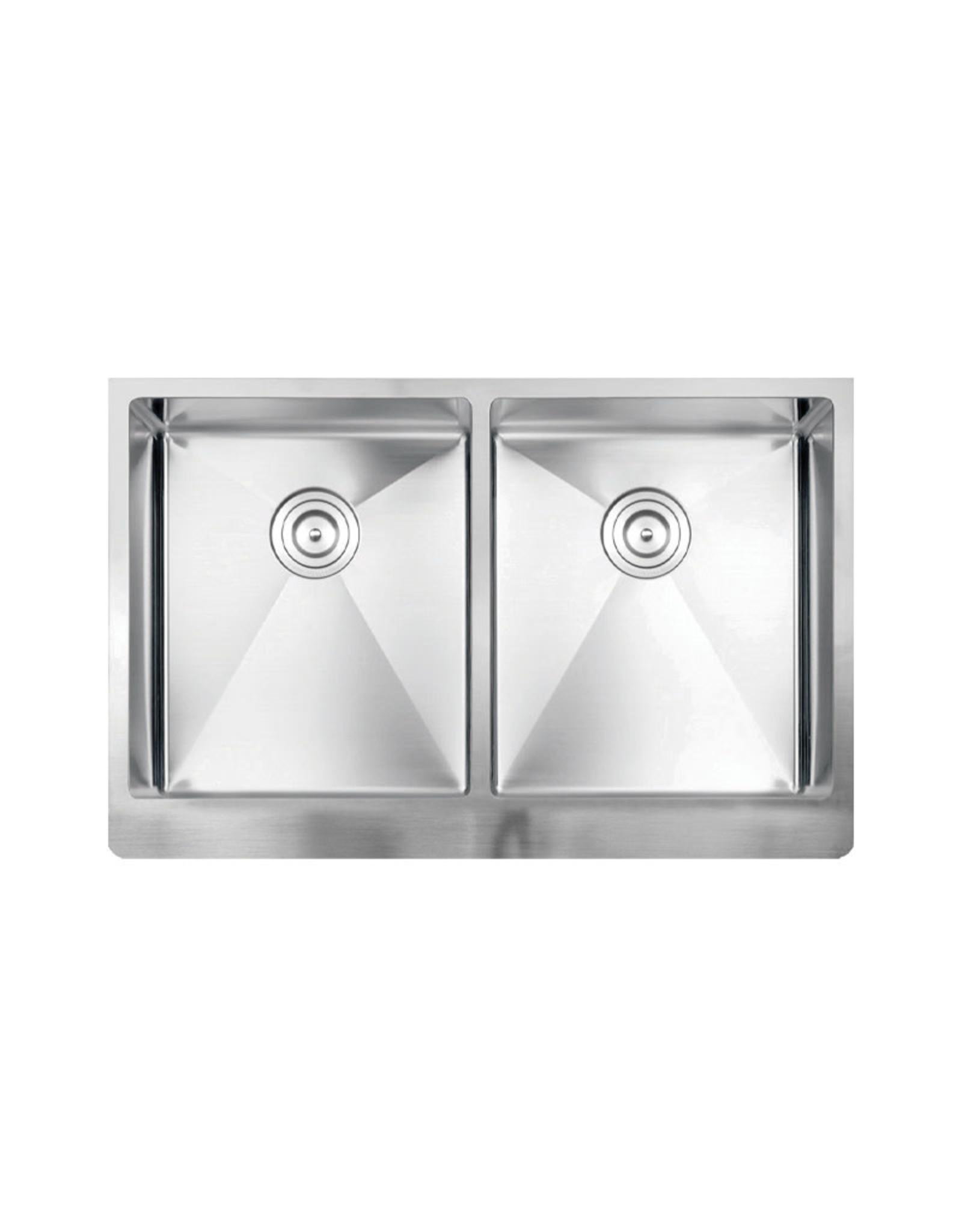 "Vogt Klagenfurt 16R Apron Front Kitchen Sink Double Bowl (50/50) 32 ⅞"" x 19 1/2 "" x 10"" With Bottom Grates"