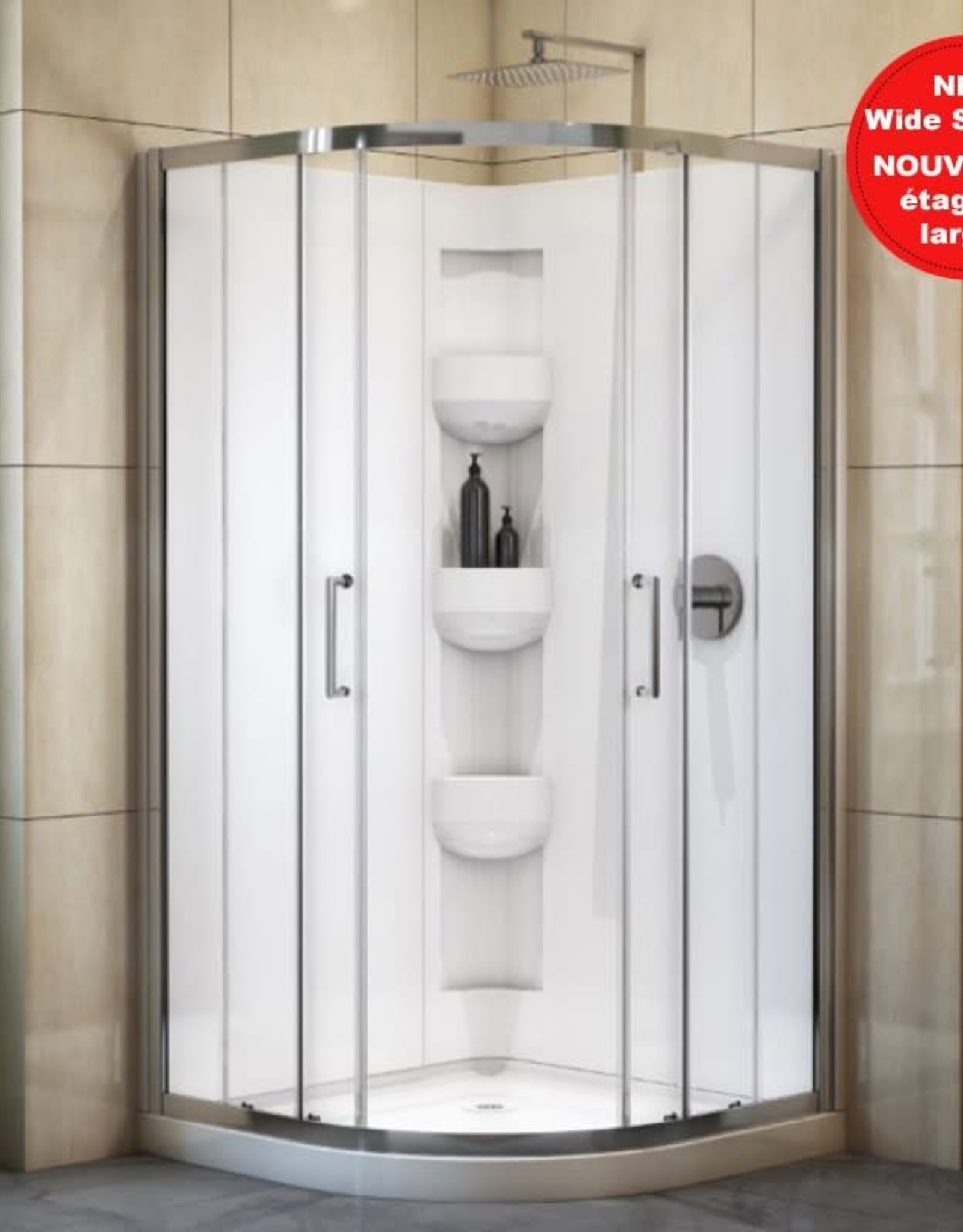 "Bain Signature Bain Signature Riley 38"" Neo Round Corner Shower Unit with Doors"