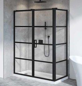 """Fleurco Fleurco Latitude 60""""x36"""" Corner Shower Door Matte Black/Clear"""