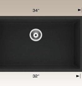 "Bosco Bosco 34"" x18"" Black Granite Undermount Single Bowl Kitchen Sink"