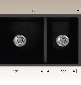 Bosco BOSCO 205051 60/40 Undermount Granite Kitchen Sink- Black