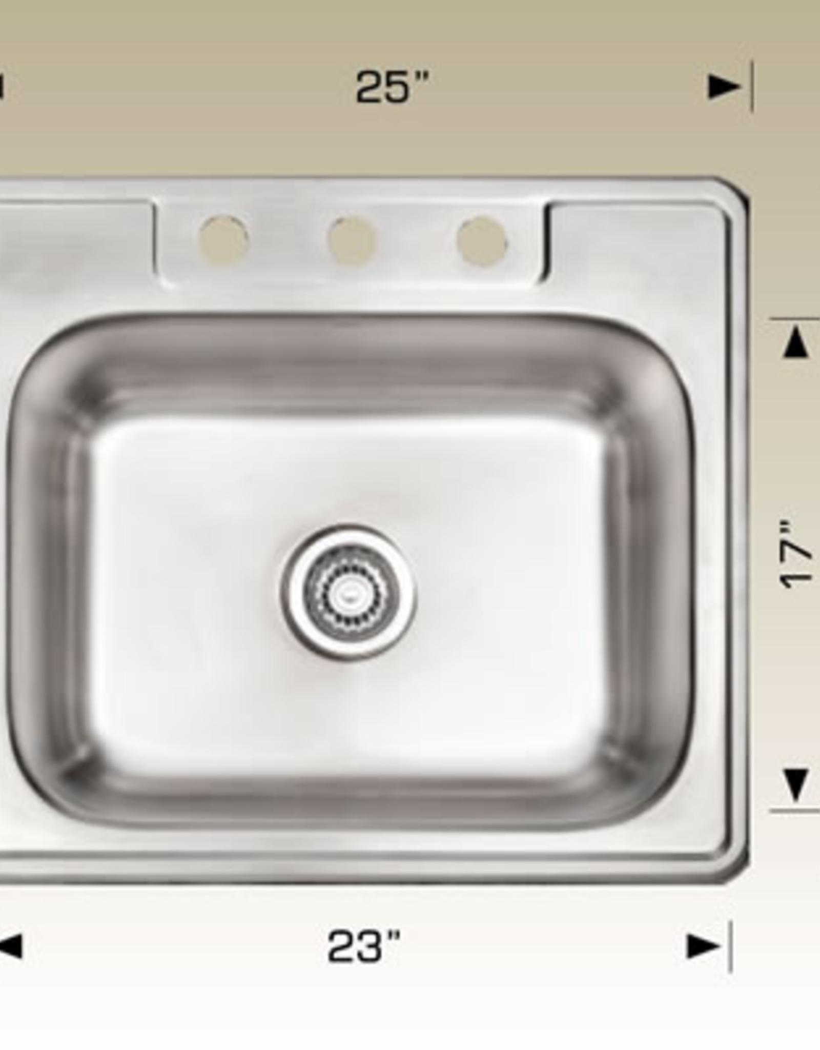 """Bosco Bosco Standard Single Drop-In Stainless Steel Sink 25""""x22"""""""