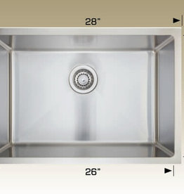 "Bosco Bosco 208048 Undermount Stainless Steel Single Bowl Kitchen Sink- 28"" x 18"" x 9"""