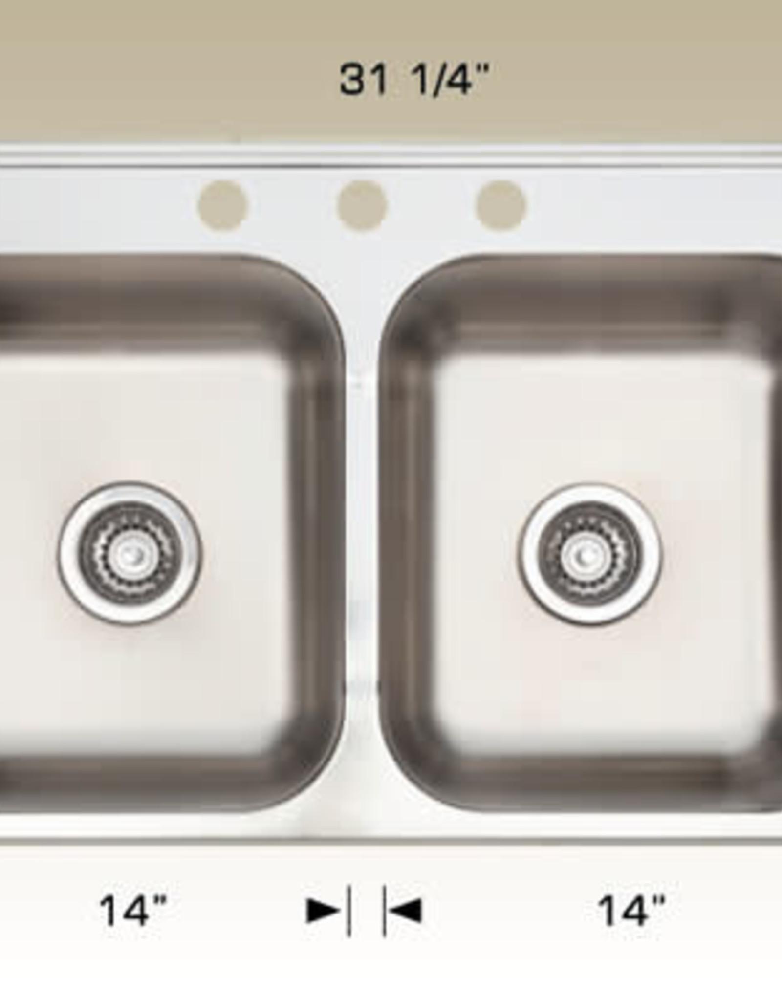 """Bosco Bosco Double Bowl Stainless Steel Drop In Sink 31  1/4"""" x 20 1/2"""""""