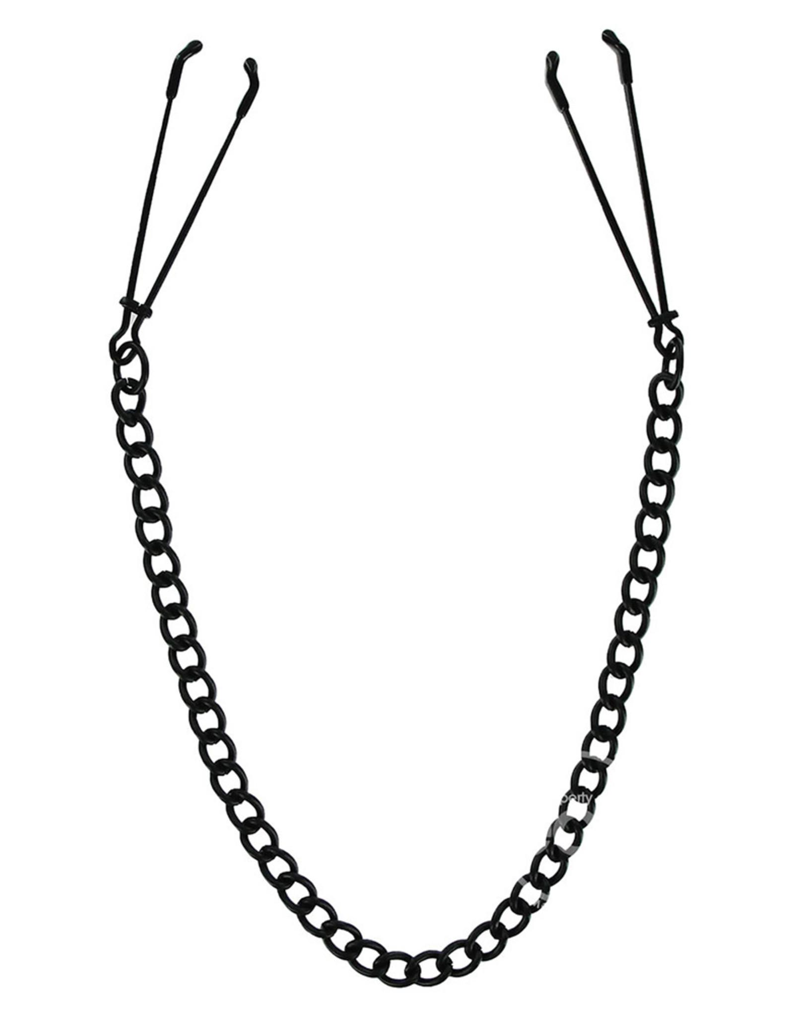 Master Series Tweezer Tip Nipple Clamp - Black Chain