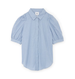 G. Label G. Label Nicole Puff-Sleeve Button-Down with Collar (Size: 0, Color: Blue/White Stripe)