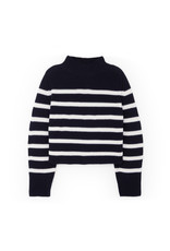 G. Label G. Label Lucy Striped Funnel-Neck Sweater (Color: Navy/White, Size: L)
