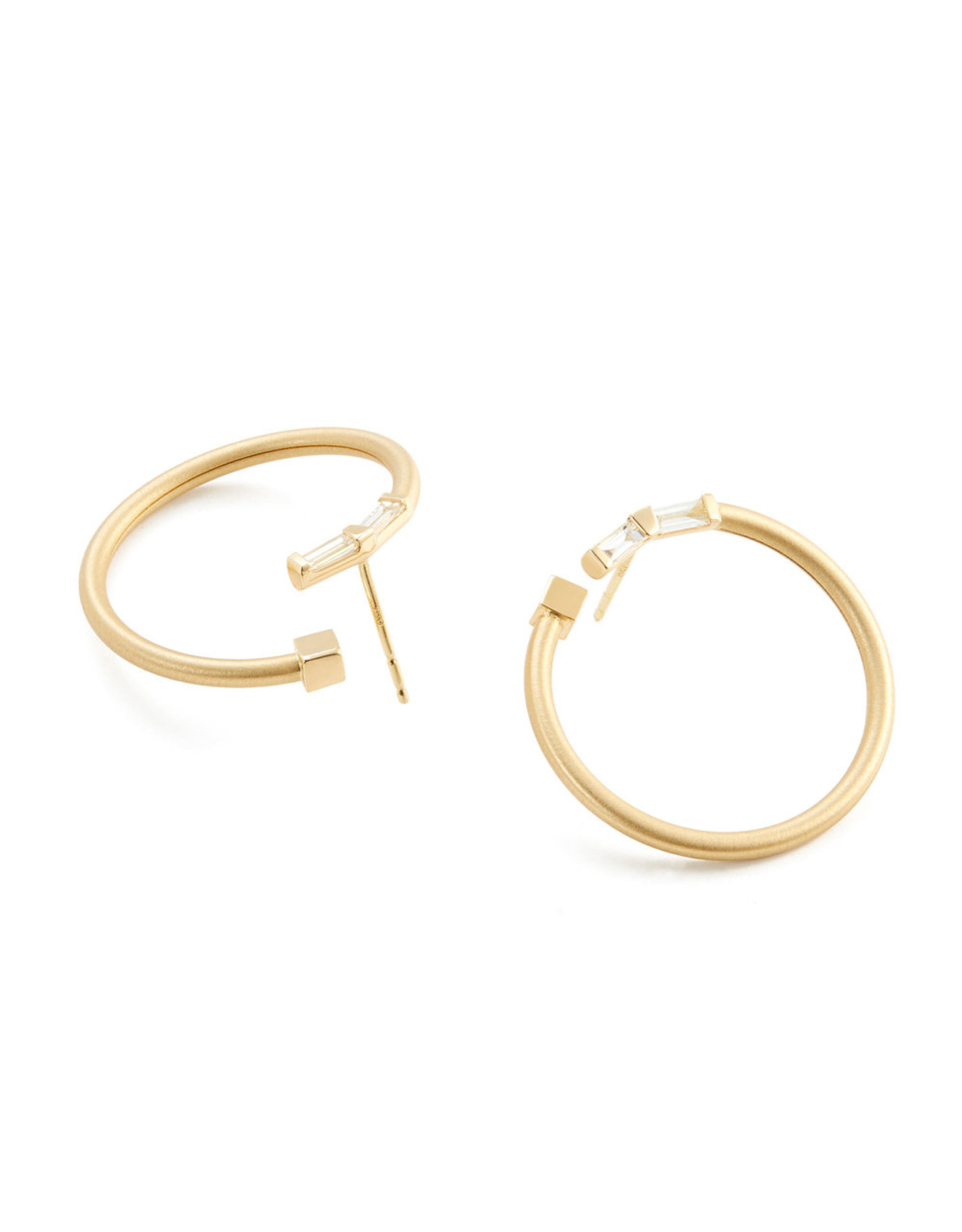 Nak Armstrong Nak Armstrong Bezel Bypass Diamond Hoops (Color: White Diamond)