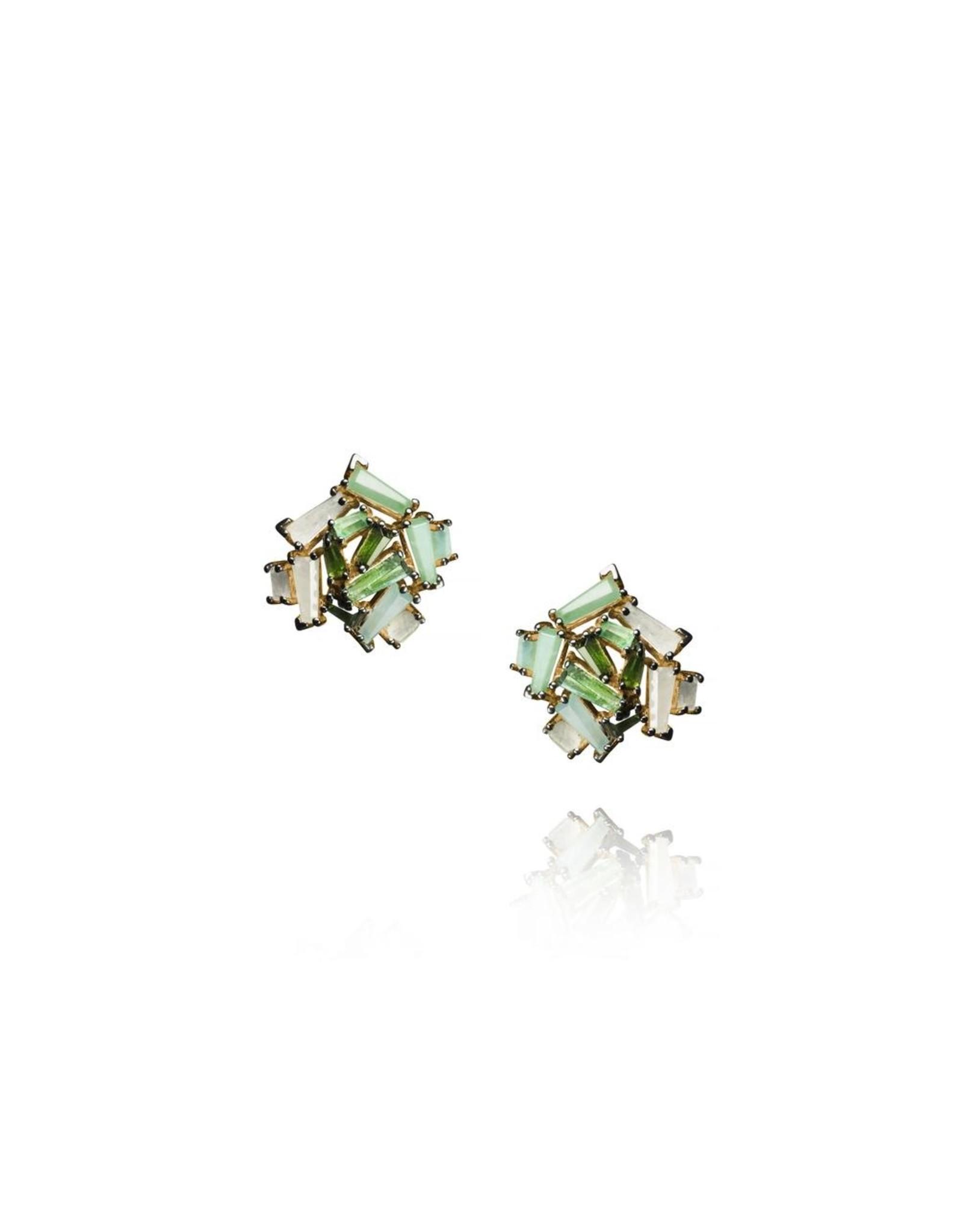 Nak Armstrong Nak Armstrong Petite Rose Stud Earrings (Color: emerald, blue Peruvian opal, green tourmaline, opaque white sapphire)