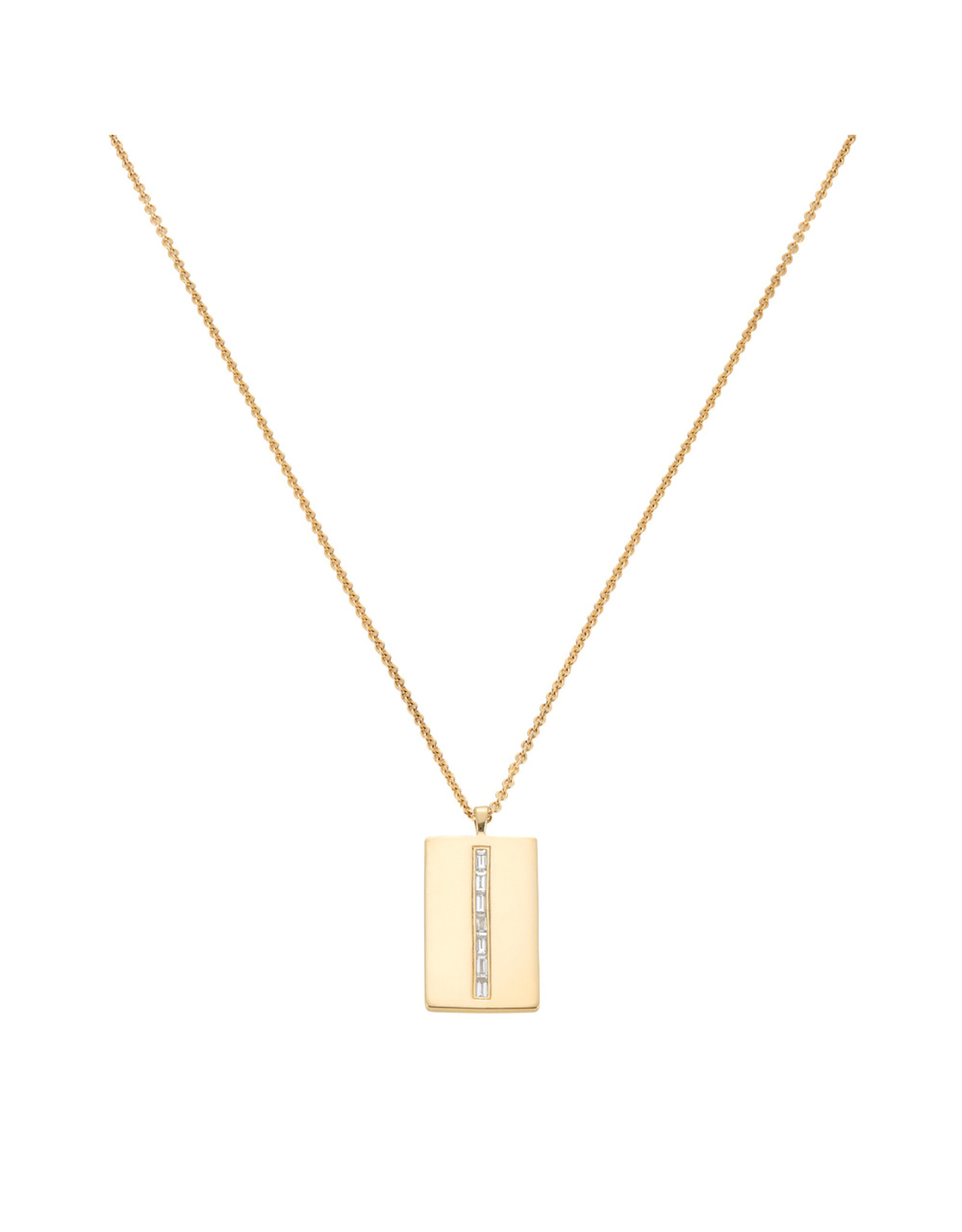Eriness Eriness Diamond Baguette Dog Tag Necklace (Color: Yellow Gold / White Diamond)