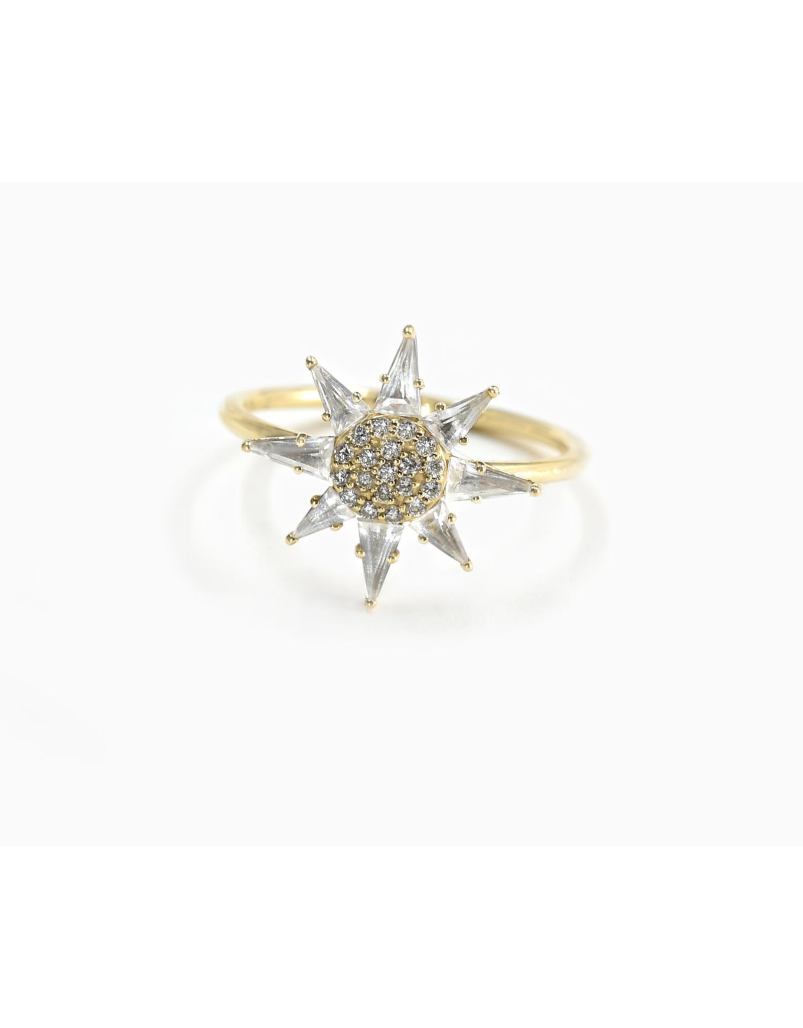 Bondeye Jewelry Bondeye Clio White Topaz Ring (Size: 7, Color: Yellow Gold / White Topaz / White Diamond)