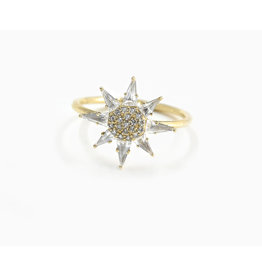 Bondeye Jewelry Bondeye Clio White Topaz Ring (Size: 7, Color: Yellow Gold / White Topaz / White Diamond)