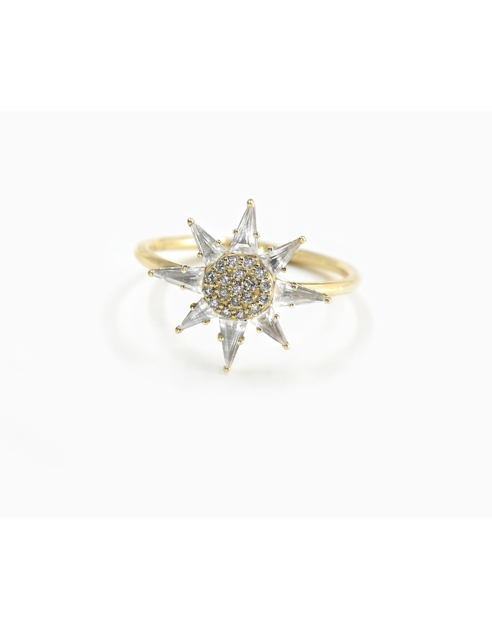 Bondeye Jewelry Bondeye Clio White Topaz Ring (Size: 6.5, Color: Yellow Gold / White Topaz / White Diamond)