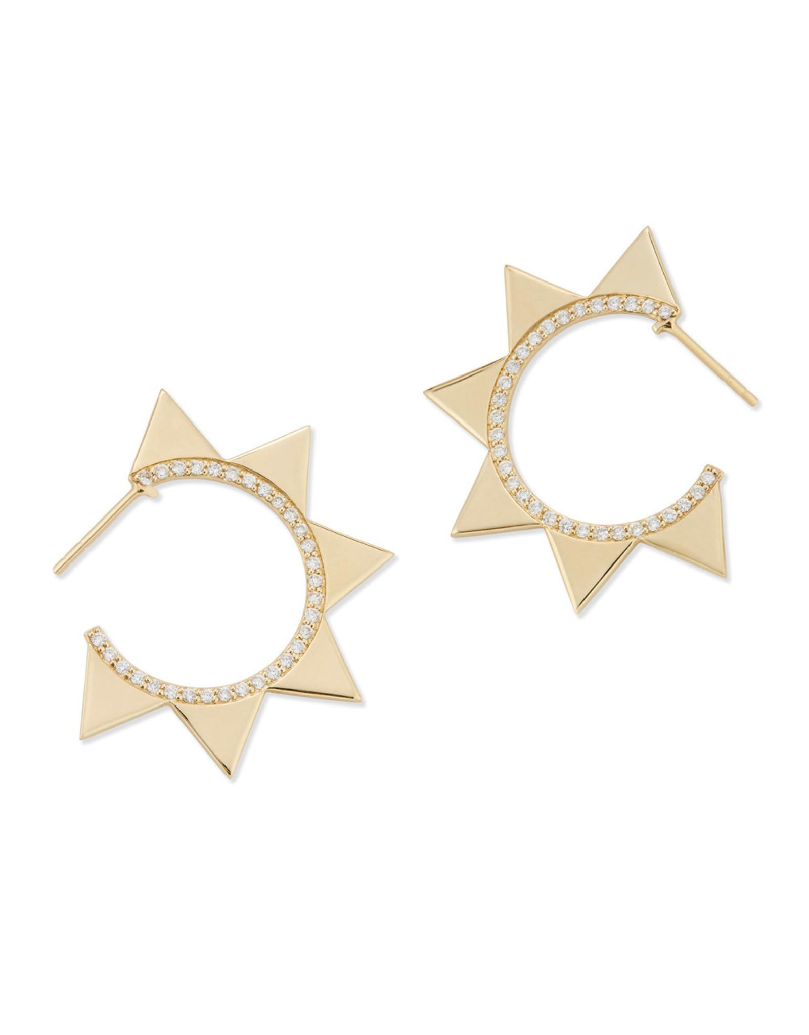 Bondeye Jewelry Bondeye Venus 14K Yellow-Gold Earrings (Color: Yellow Gold / White Diamond)
