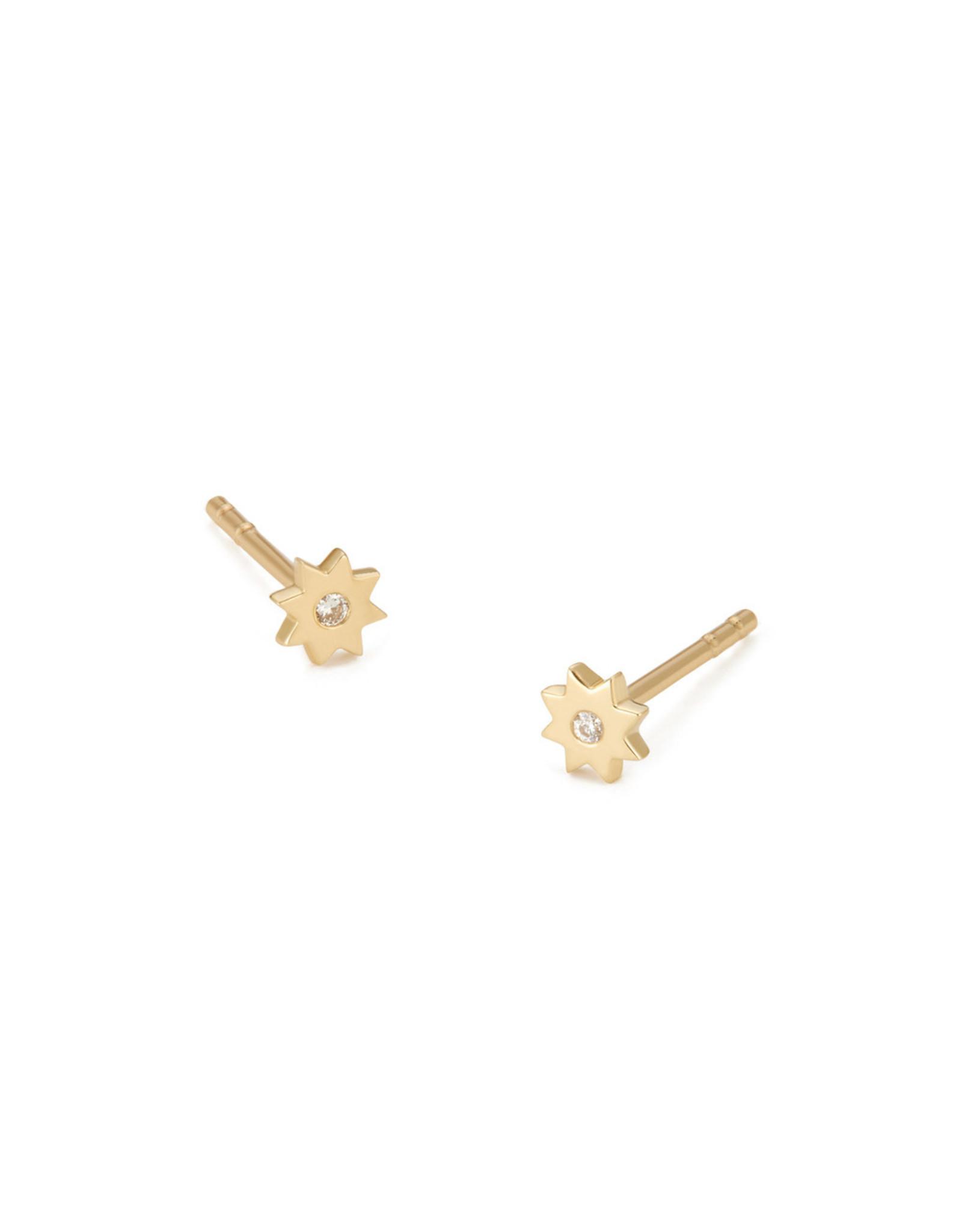 Bondeye Jewelry Bondeye Ursa Earrings (Color: Yellow Gold / White Diamond)