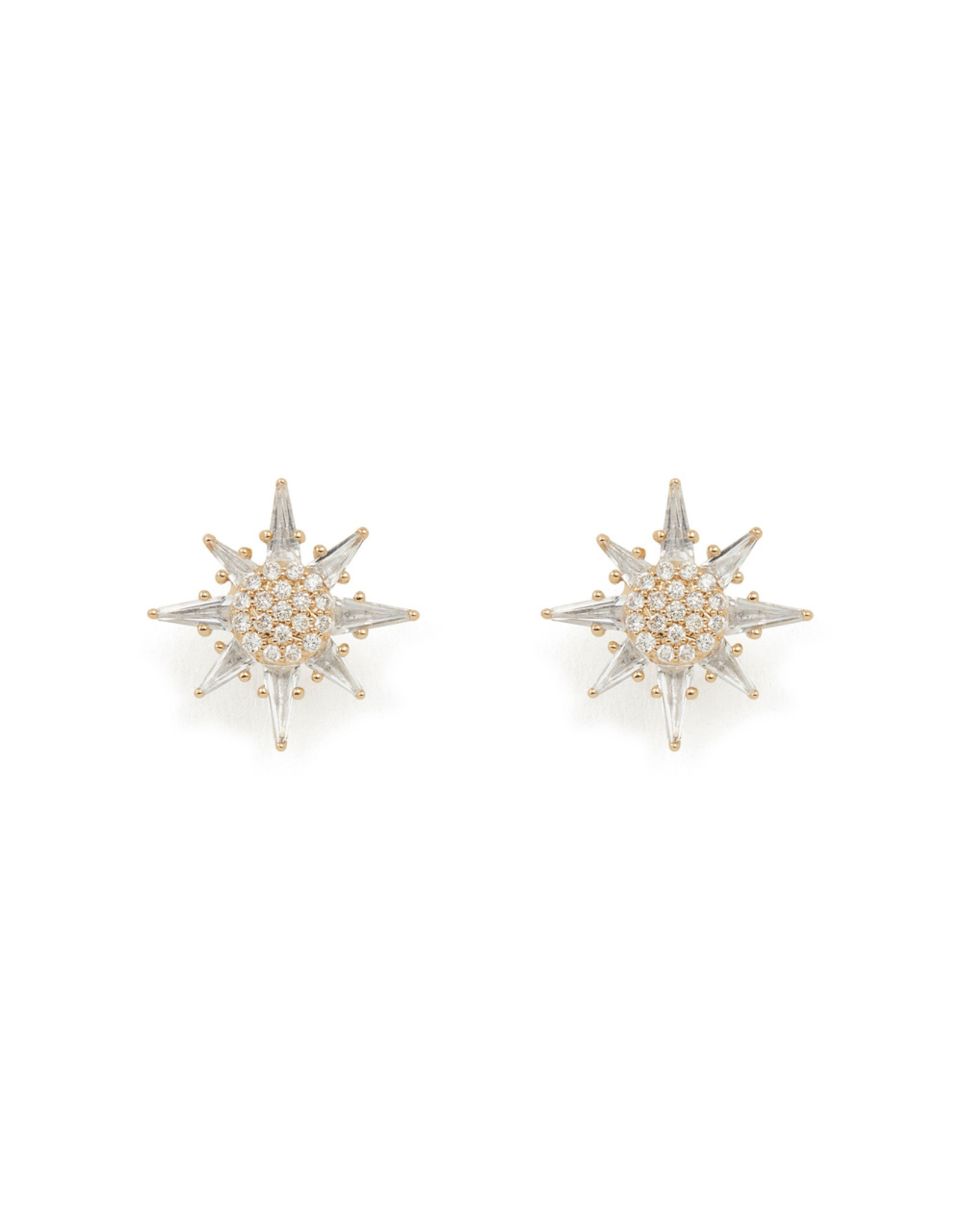 Bondeye Jewelry Bondeye Calypso White Topaz Star Stud Earrings (Color: Yellow Gold)