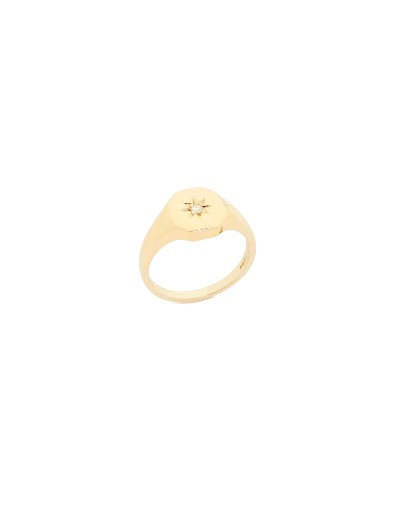 Bondeye Jewelry Bondeye Josie Yellow-Gold Signet Ring (Size: 6, Stone: Diamond)