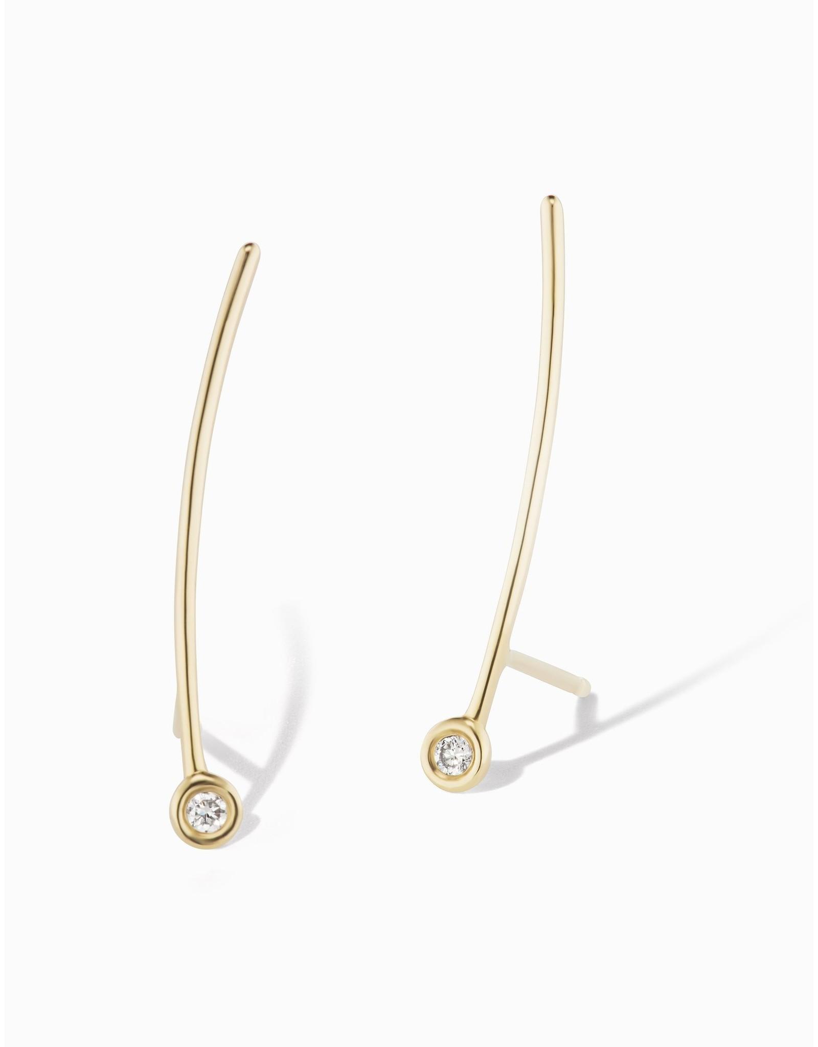 Sophie Ratner Sophie Ratner Diamond Contour Earrings - Yellow Gold / White Diamond