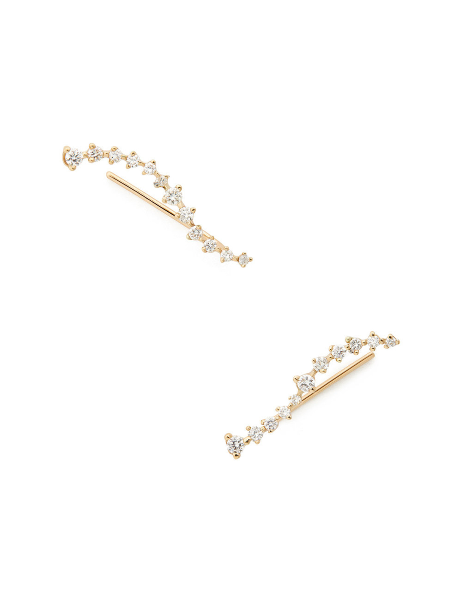 Sophie Ratner Sophie Ratner Diamond Swell Ear Climbers - Yellow Gold / White Diamonds
