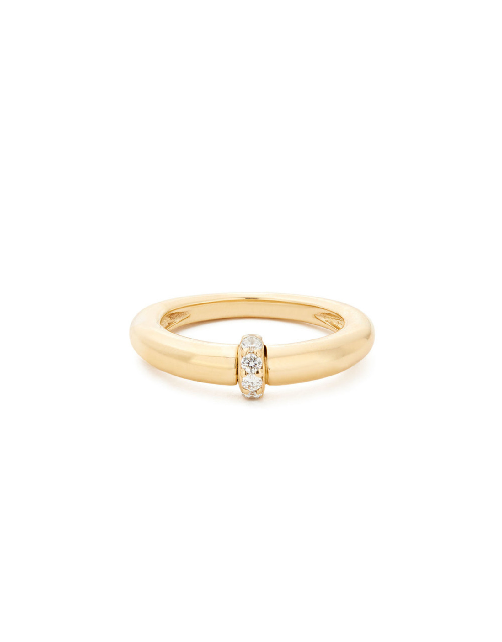 Sophie Ratner Single Diamond Domed Ring (Color: Yellow Gold / Pave, Size: 7)