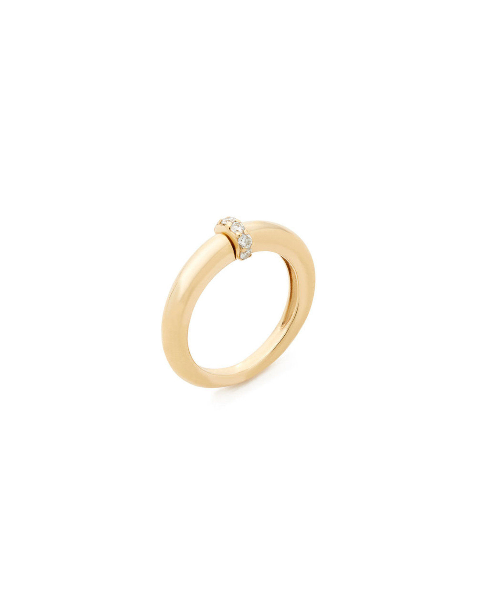 Sophie Ratner Single Diamond Domed Ring (Color: Yellow Gold / Pave, Size: 6)