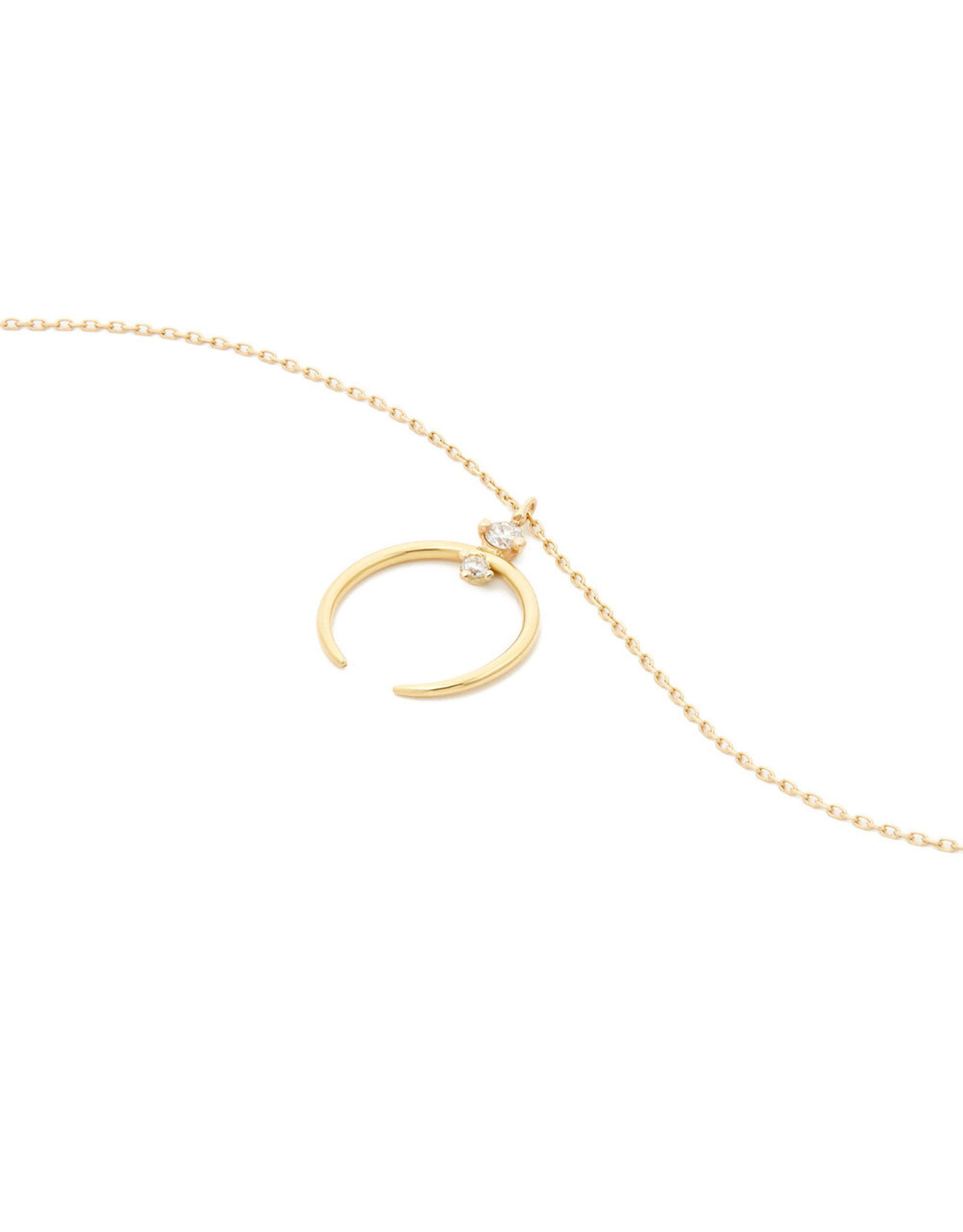 Sophie Ratner Sophie Ratner Crescent Yellow-Gold Pendant Necklace - Yellow Gold / White Diamonds