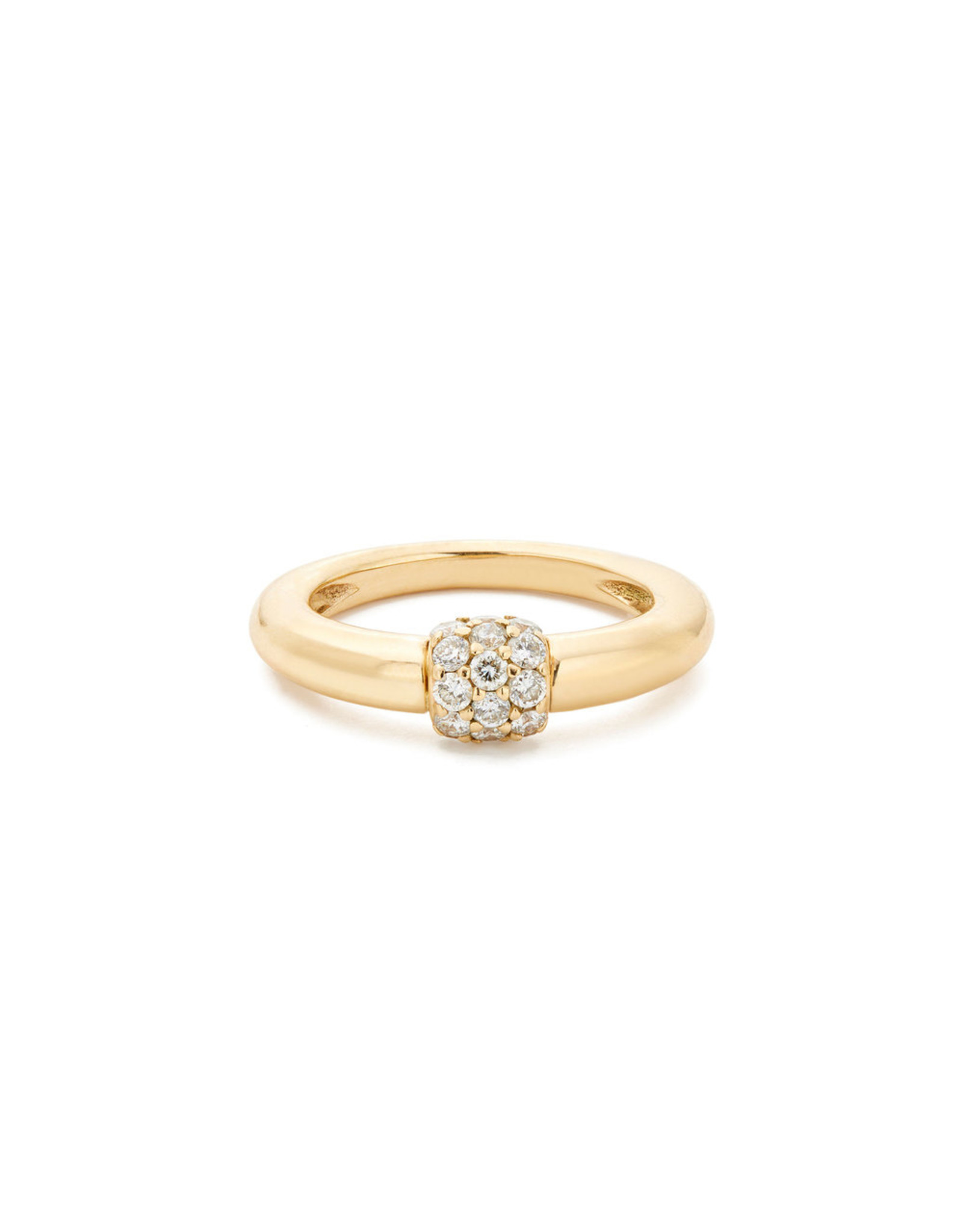 Sophie Ratner Sophie Ratner Triple Diamond Domed Ring (Color: Yellow Gold / Pave, Size: 5)
