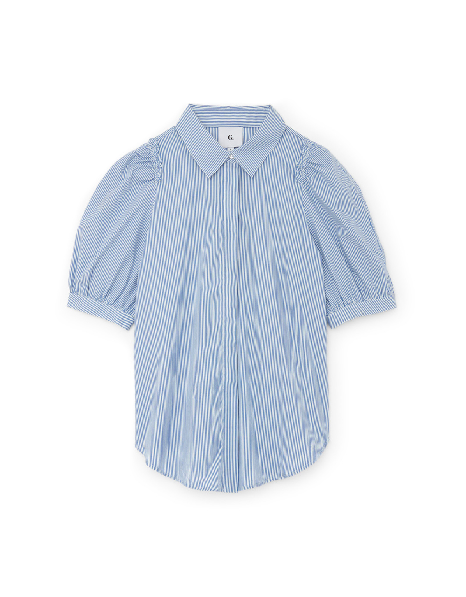 G. Label G. Label Nicole Puff-Sleeve Button-Down with Collar (Size: 12, Color: Blue/White Stripe)