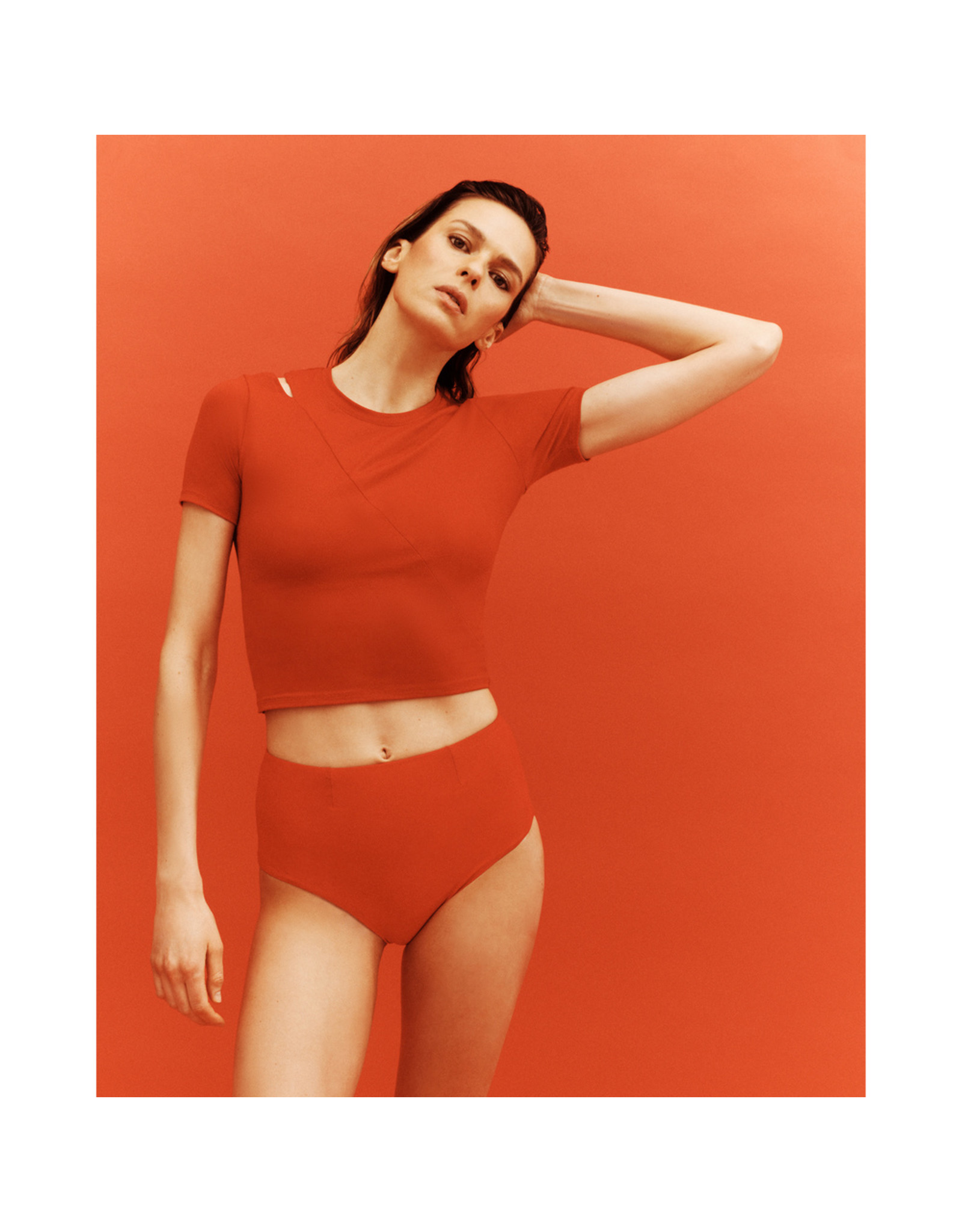 G. Sport x Proenza Schouler G. Sport x Proenza Schouler Short-Sleeve Cutout Top (Color: Red, Size: XS)