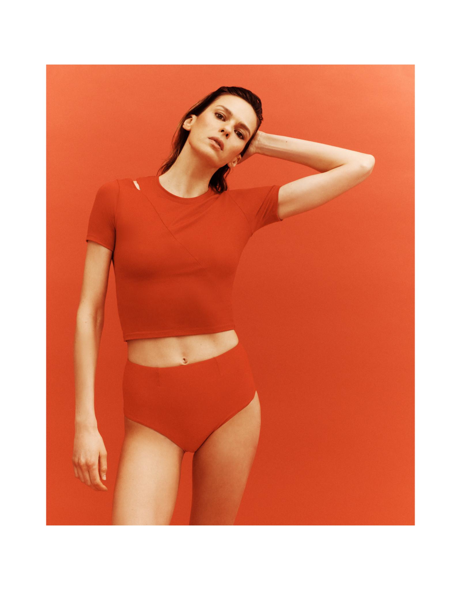 G. Sport x Proenza Schouler G. Sport x Proenza Schouler Short-Sleeve Cutout Top (Color: Red, Size: XL)