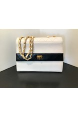 What Goes Around Comes Around CHANEL WHT/NVY LAMB TRAPEZOID