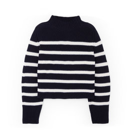 G. Label G. Label Lucy Striped Funnel-Neck Sweater (Color: Navy/White, Size: M)