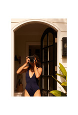 G. Label Belted Maillot (Color: Navy, Size: S)