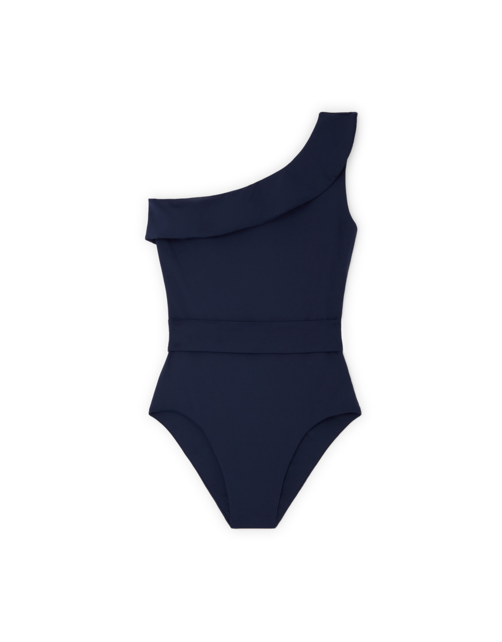 G. Label One-Shoulder Belted One-Piece (Color: Navy, Size: XS)