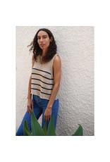 G. Label Eric Chunky Knit Tank Top (Color: Khaki/Black Stripe, Size: L)