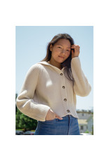 G. Label Bella Button Bomber Cardigan (Color: Ivory, Size: S)