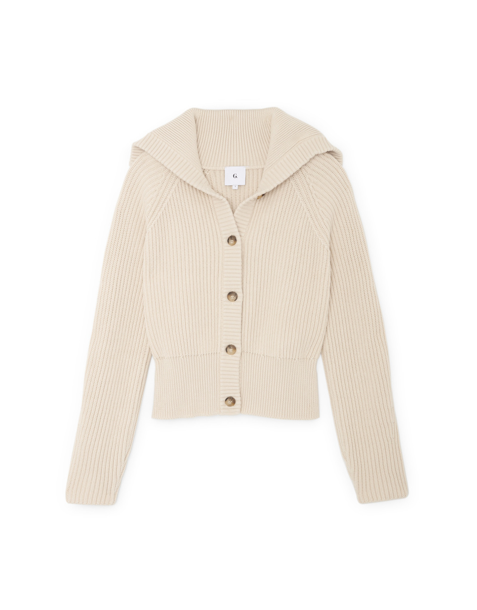 G. Label Bella Button Bomber Cardigan (Color: Ivory, Size: L)