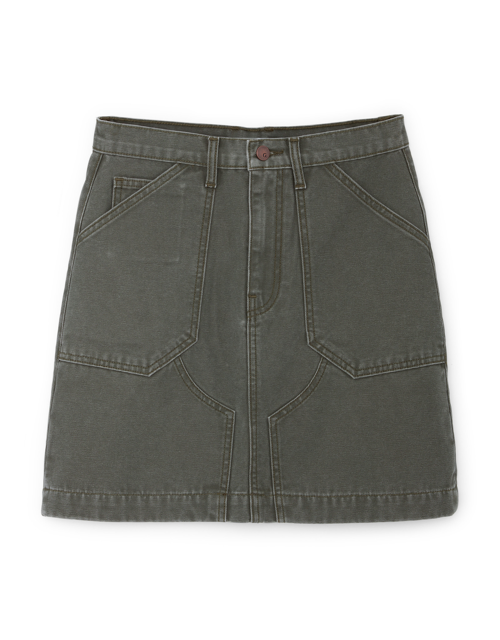 G. Label G. Label Pearson Flared Mini Skirt (Color: Army Green, Size: 25)