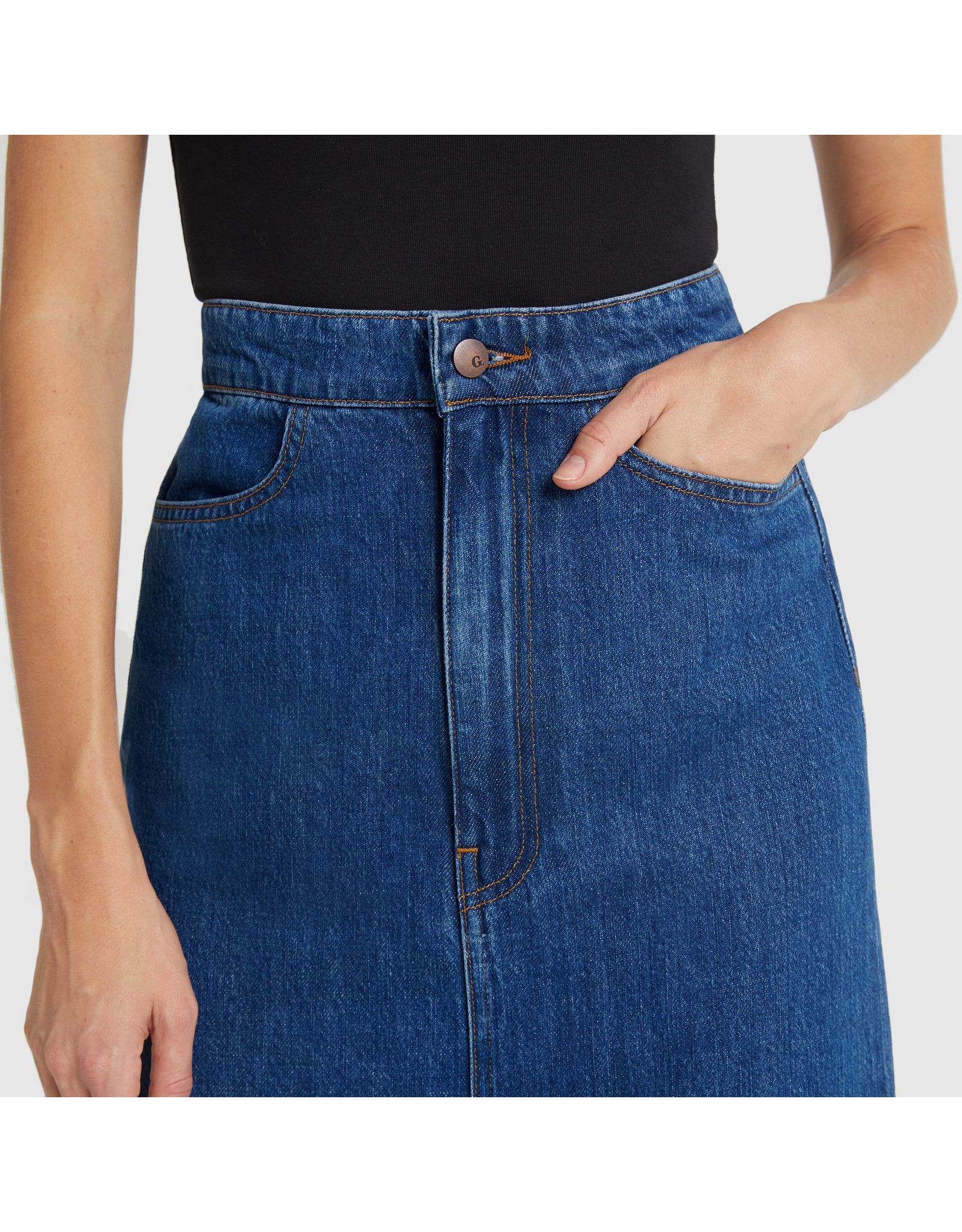 G. Label G. Label Yu Denim Pencil Skirt (Color: Medium Blue Wash, Size: 27)