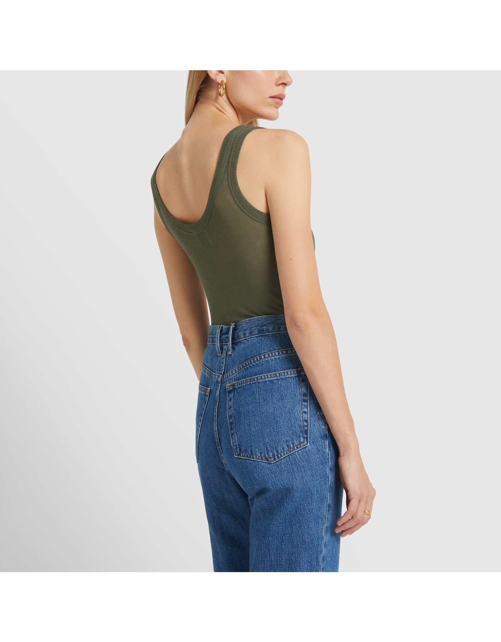 G. Label G. Label Lee Rib Tank (Color: Army Green, Size:L)