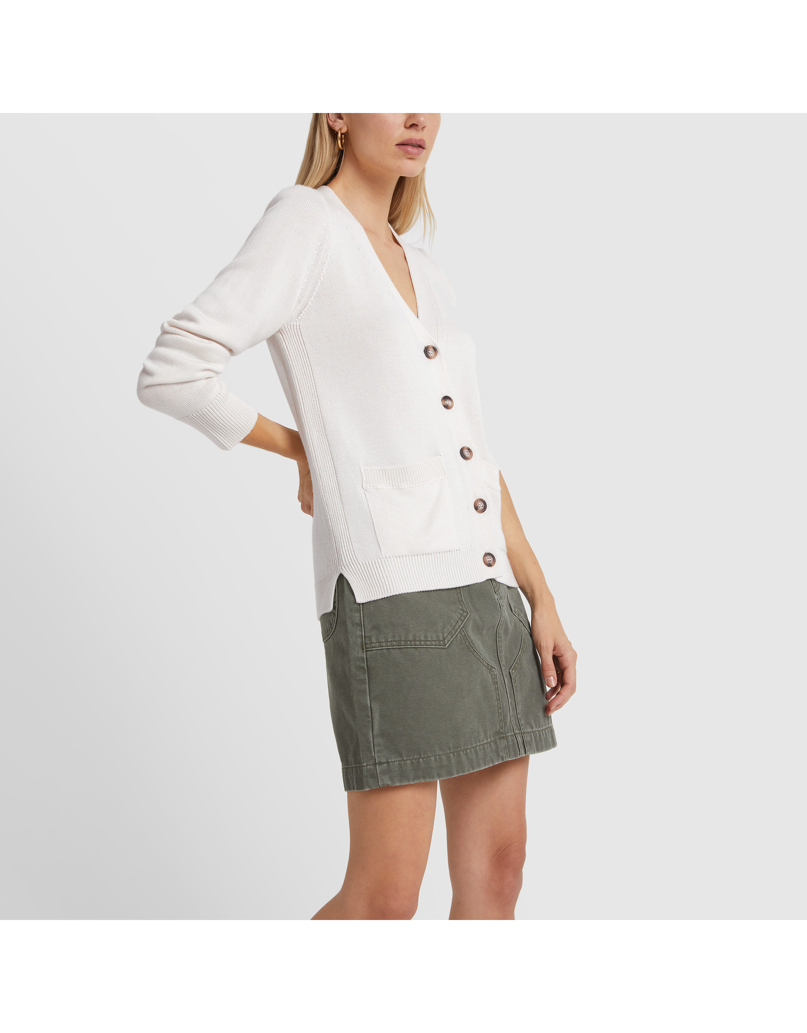 G. Label G. Label Lightweight Erica Cardigan (Color: White, Size: L)