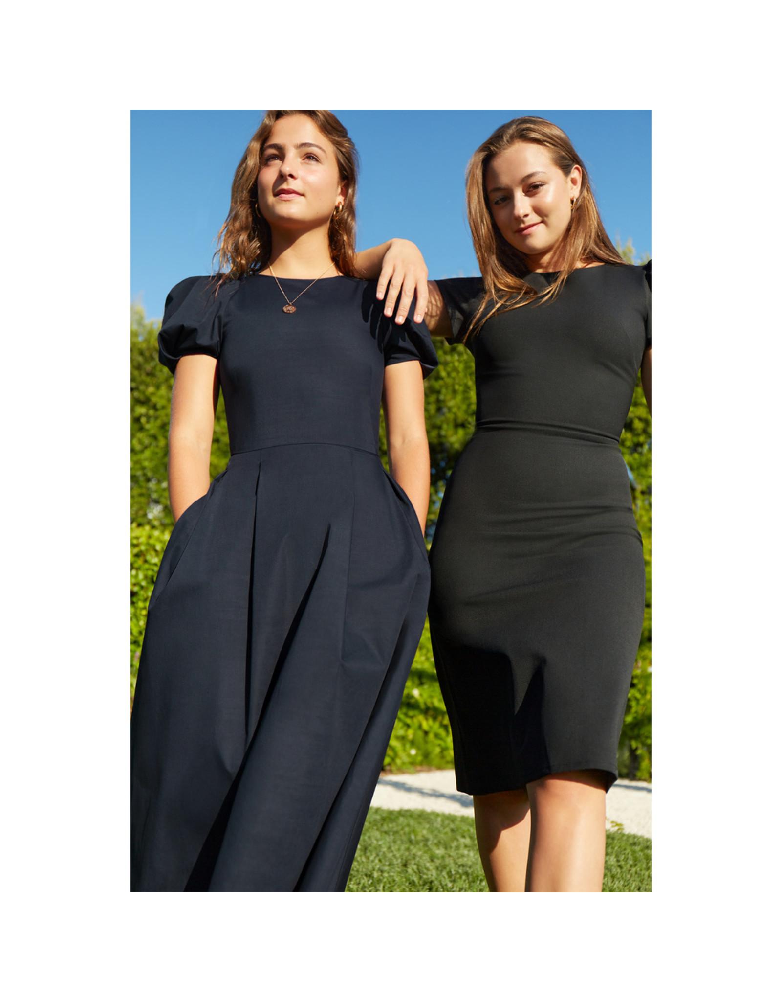 G. Label Ficchi Puff Sleeve Keyhole Back Dress (Color: Black, Size: 6)