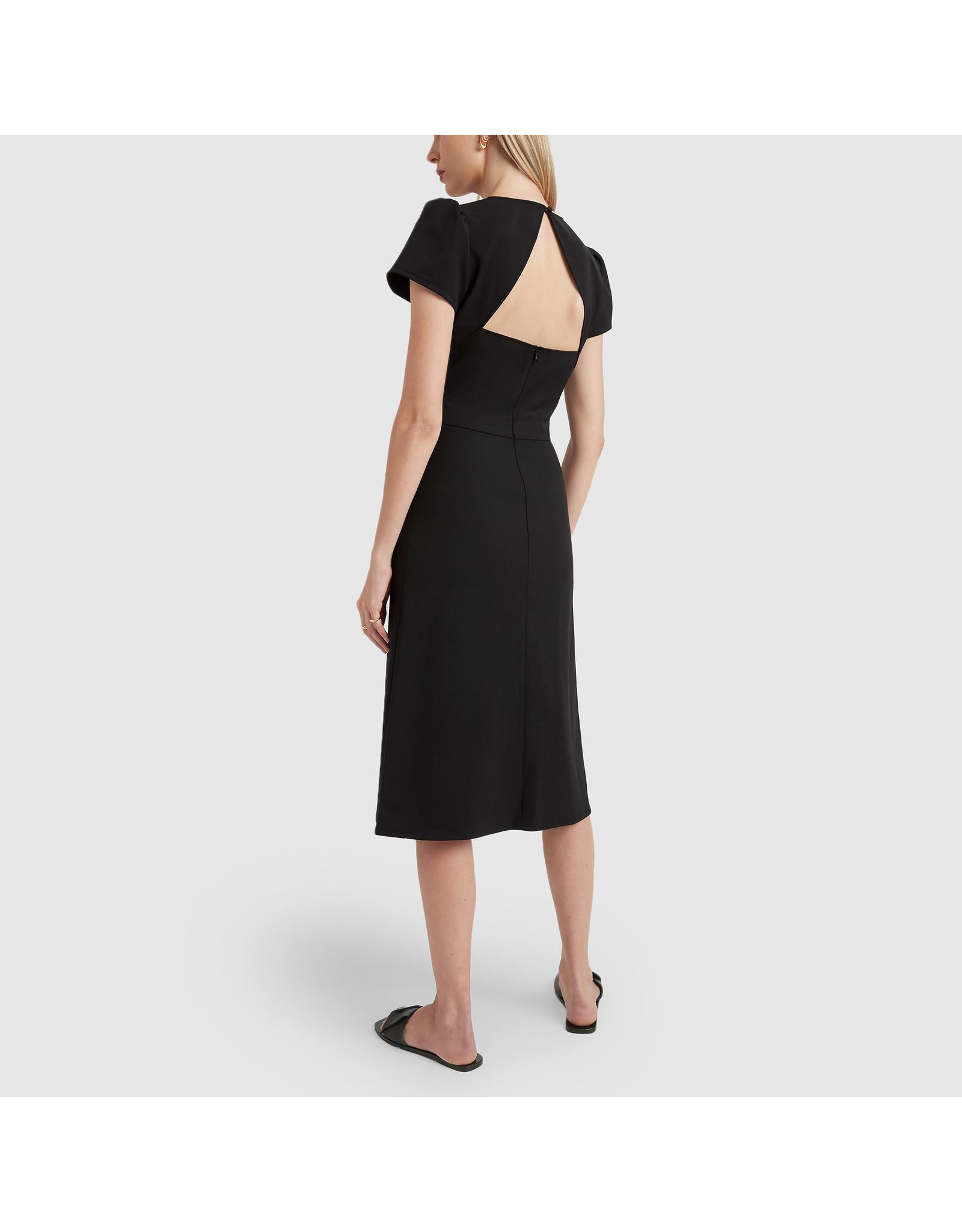 G. Label Ficchi Puff Sleeve Keyhole Back Dress (Color: Black, Size: 2)