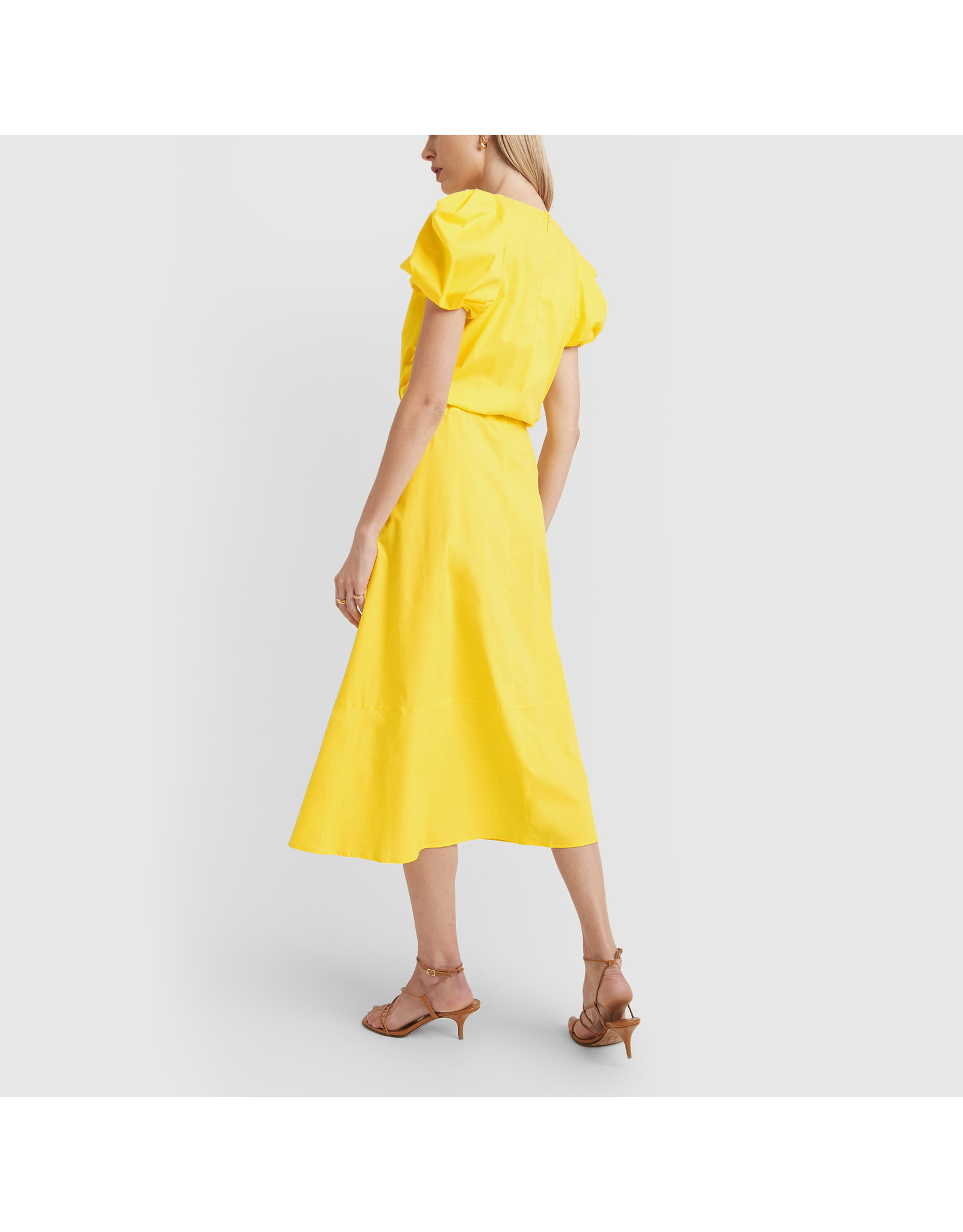 G. Label Zelda Rounded-Sleeve Drawstring Dress (Color: Yellow, Size: 6)