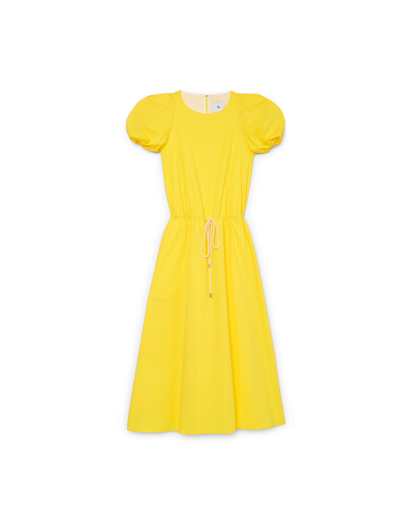 G. Label Zelda Rounded-Sleeve Drawstring Dress (Color: Yellow, Size: 0)