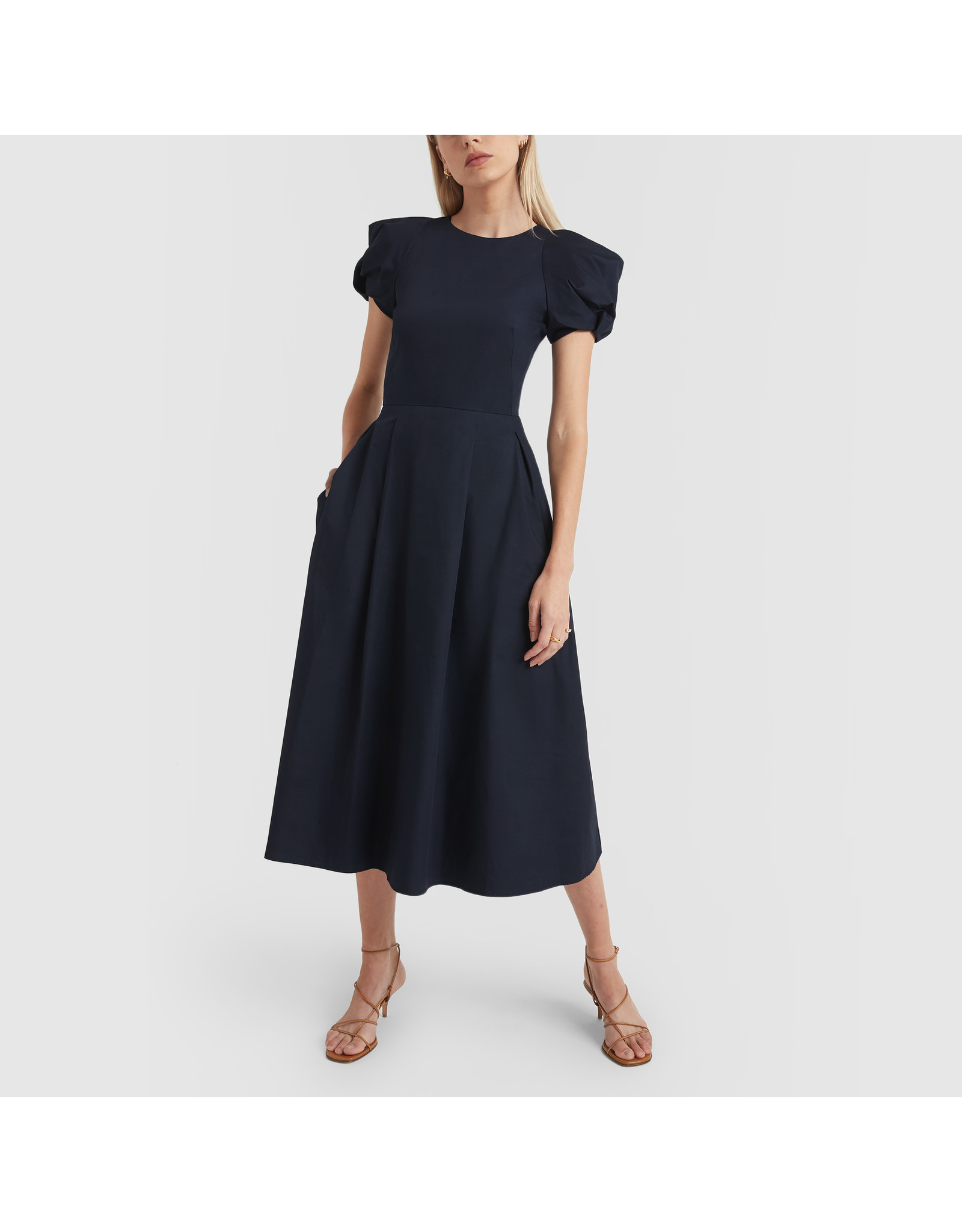 G. Label Elle Rounded Sleeve Mid Length Dress (Color: Navy, Size: 8)